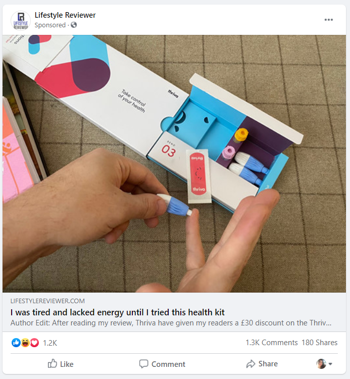 Lifestyle Reviewer FB ad
